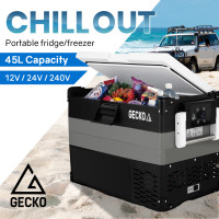 GECKO 45L Portable Fridge Freezer Cooler 12V/24V/240V Black