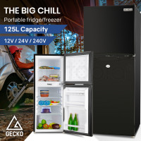 GECKO 125L Portable Upright Fridge 12V/24V/240V for Motorhome and Caravan, Black