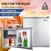 GECKO 57L Portable Camping Bar Fridge with Freezer 12V/24V/240V
