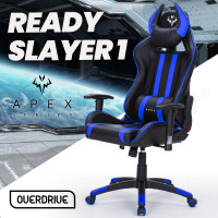 OVERDRIVE Reclining Gaming Chair with Neck and Lumbar Cushions, Black and Blue