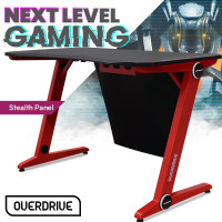 OVERDRIVE Gaming PC Desk Carbon Fiber Style Black Red