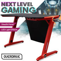 OVERDRIVE Gaming PC Desk 120x60cm Carbon Fiber Styling Red LED Lights