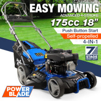 "POWERBLADE 18"" 175cc Electric Start Self-Propelled 4-Stroke 4in1 Petrol Steel Deck Lawnmower - VS600e"