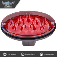 Novelty Tow-bar / Trailer Hitch Cover - Red Oval Brake light Flame job