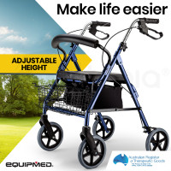EQUIPMED 4 Wheel Aluminium Rollator Walker for Elderly, Blue