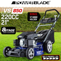 "POWERBLADE Lawn Mower Self Propelled 21"" 220CC 4 Stroke Lawnmower Grass Catch"