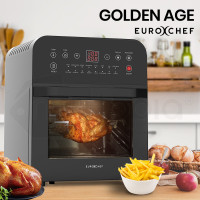 EUROCHEF 16L Digital Air Fryer with Rotisserie, Black