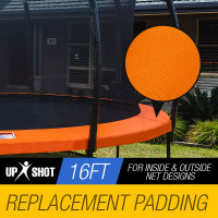 UP-SHOT 16ft Replacement Trampoline Pad Reinforced Springs Outdoor Safety Round Orange