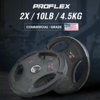 PROFLEX Pair of 10lb Rubber-Coated Olympic Weight Plates for Gym Home Fitness Bodybuilding Weights Training