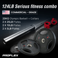 PRE-ORDER PROFLEX 20kg Olympic Barbell with Collars, and Pairs of Weight Plates, 5lb,10lb, 25lb