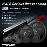 PROFLEX 20kg Olympic Barbell with Collars, and Pairs of Weight Plates, 5lb,10lb, 35lb, 45lb