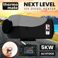 THERMOMATE 12V 5kW Diesel Air Heater for Caravan Camper Trailer Van Motorhome RV, Grey