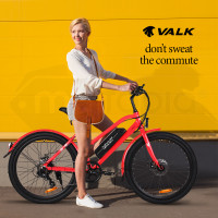 VALK Ladies Step-Thru Shimano Electric Bike 36V 250W e-Bike eBike Bicycle Red - Vista