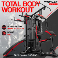 Proflex Red Multi Station Home Gym Set with 125lbs Plates & Boxing Bag- M9500