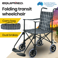 EQUIPMED Ultra-Light Foldable Transport Transit Wheelchair