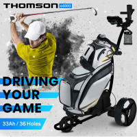 THOMSON Electric Motorised Golf Buggy, Drink and Umbrella Holder, Black