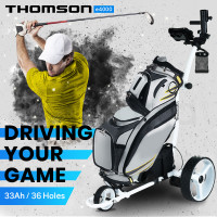 THOMSON Electric Motorised Golf Buggy, Drink and Umbrella Holder, White