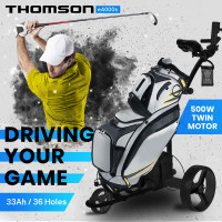 THOMSON 500W Electric Golf Buggy Twin Motor, Drink and Umbrella Holder, Black