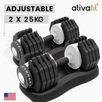 ATIVAFIT 2 x 25kg Adjustable Weight Dumbbell Set, for Home Gym Fitness Training