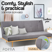 FORTIA 190cm Sofa Bed Indoor Lounge Cotton Mattress Linen Fabric Couch Lt Grey