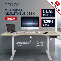 FORTIA Curve Sit/Stand Motorised Height Adjustable Desk 160cm White/Oak