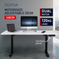 FORTIA Sit/Stand Motorised Height Adjustable Desk 160cm Matte White/Black