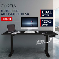 FORTIA Sit/Stand Motorised Height Adjustable Desk 150cm Black/Black