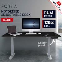 FORTIA Sit/Stand Motorised Height Adjustable Desk 150cm Black/Silver