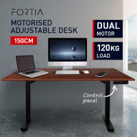 FORTIA Sit/Stand Motorised Height Adjustable Desk 150cm Walnut/Black