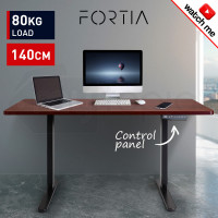 FORTIA Sit/Stand Motorised Electric Height Adjustable Desk 140cm Mahogany