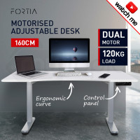 FORTIA Matte White/White 160cm Sit Stand Curve Height Adjustable Standing Desk