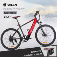 "VALK 27.5"" Electric Hardtail Mountain e-Bike, Shimano, Integrated 36V 250W Battery, Disc Brakes, Black and Red"