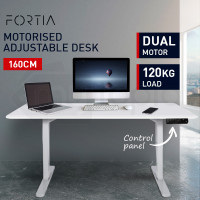 FORTIA Sit/Stand Motorised Height Adjustable Desk 160cm Matte White/White