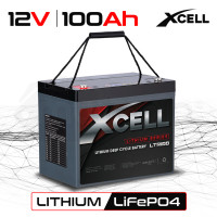X-CELL 100Ah 12v Lithium-Iron LiFePO4 Deep Cycle Battery with BMS, for Camping, 4WD, Solar