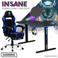 OVERDRIVE Gaming Chair with Footrest and Desk Setup Combo, Black & Blue