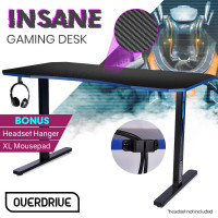 OVERDRIVE Gaming PC Desk Carbon Fiber Style, Black and Blue, with Headset Holder, Gaming Mouse Pad