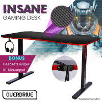 OVERDRIVE Gaming PC Desk Carbon Fiber Style, Black and Red, with Headset Holder, Gaming Mouse Pad