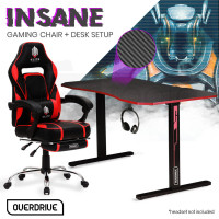 OVERDRIVE Gaming Chair with Footrest and Desk Setup Combo, Black & Red