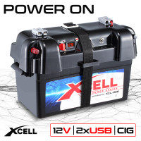 X-CELL Battery Box for Deep Cycle Batteries, with 12V and 2x USB, for Caravan Boat Camper Trailer