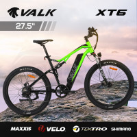 VALK XT6 Electric Dual Suspension Mountain e-Bike, Medium Frame, Tektro Brakes, Maxxis Tyres, Velo Saddle, Shimano Gears, Black and Lime Green