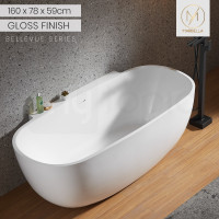 MARBELLA 1600x780x590 Back to Wall Gloss White Bathtub Freestanding Acrylic Bath tub