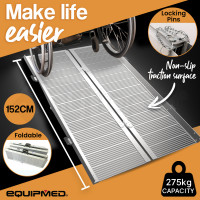 EQUIPMED 152cm Portable Folding Aluminium Access Ramp, for Wheelchair, Mobility Scooter, Rollator