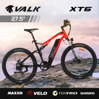 VALK XT6 Electric Dual Suspension Mountain e-Bike, Medium Frame, Tektro Brakes, Maxxis Tyres, Velo Saddle, Shimano Gears, Black & Red
