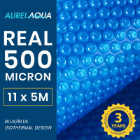 AURELAQUA 500 Micron 11x5m Solar Thermal Blanket Swimming Pool Cover, Blue