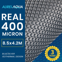 AURELAQUA 400 Micron 8.5x4.2m Solar Thermal Blanket Swimming Pool Cover, Blue and Silver