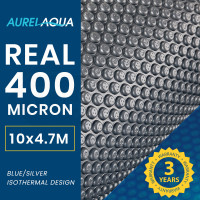 AURELAQUA 400 Micron 10x4.7m Solar Thermal Blanket Swimming Pool Cover, Blue and Silver