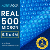 AURELAQUA 500 Micron 9.5x4m Solar Thermal Blanket Swimming Pool Cover, Blue