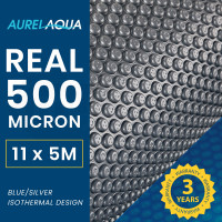 AURELAQUA 500 Micron 11x5m Solar Thermal Blanket Swimming Pool Cover, Blue and Silver
