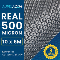 AURELAQUA 500 Micron 10x5m Solar Thermal Blanket Swimming Pool Cover, Blue and Silver