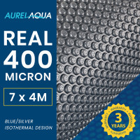 AURELAQUA 400 Micron 7x4m Solar Thermal Blanket Swimming Pool Cover, Blue and Silver